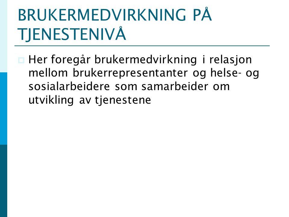 BRUKERMEDVIRKNING PÅ TJENESTENIVÅ