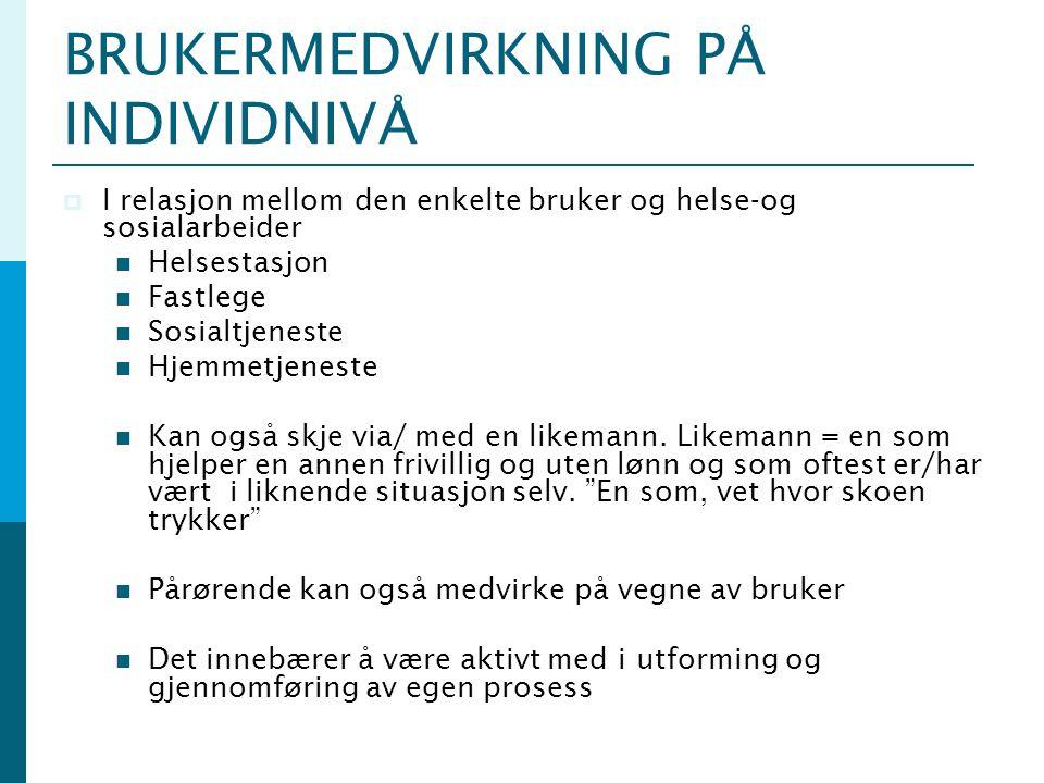 BRUKERMEDVIRKNING PÅ INDIVIDNIVÅ