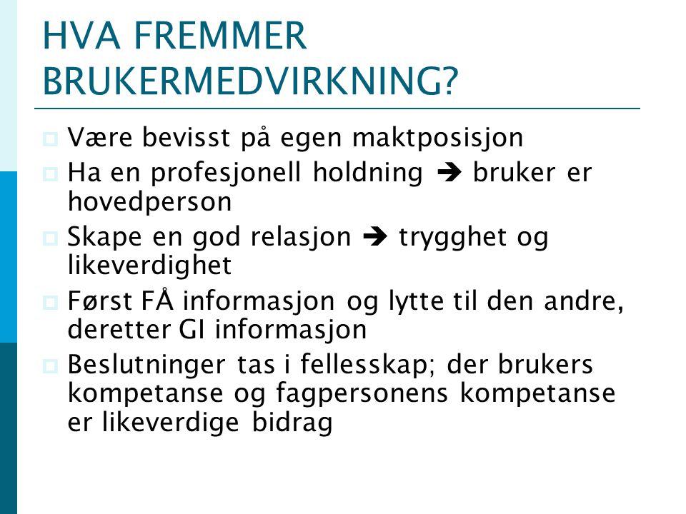 HVA FREMMER BRUKERMEDVIRKNING
