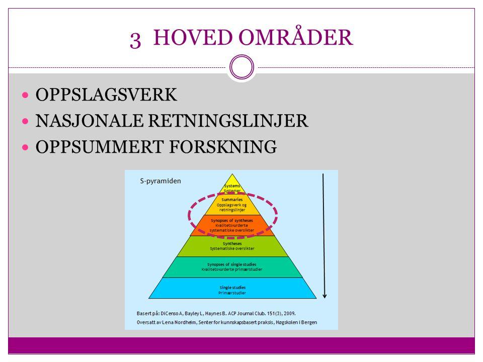 3 HOVED OMRÅDER OPPSLAGSVERK NASJONALE RETNINGSLINJER