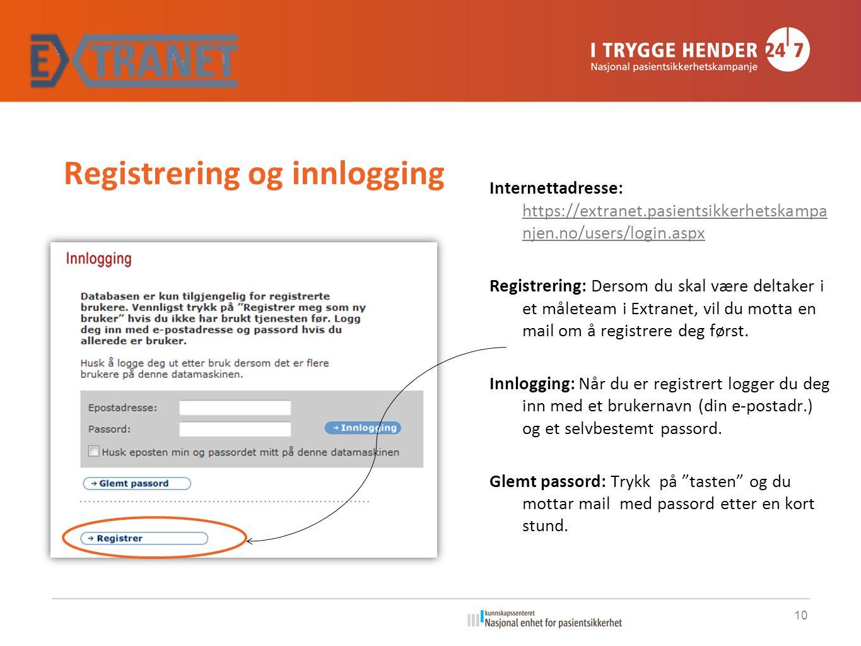 Registrering og innlogging