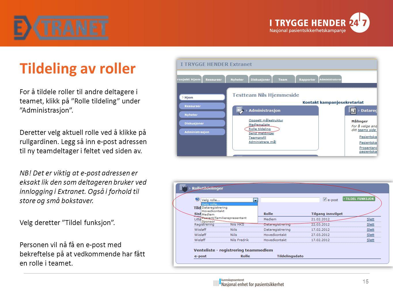 Tildeling av roller For å tildele roller til andre deltagere i teamet, klikk på Rolle tildeling under Administrasjon .