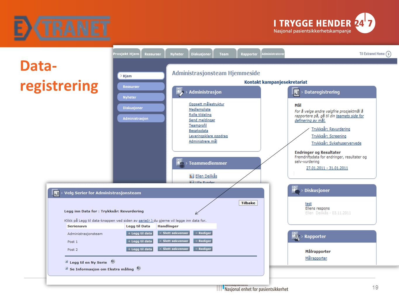 Data- registrering 19 Veileder Extranet