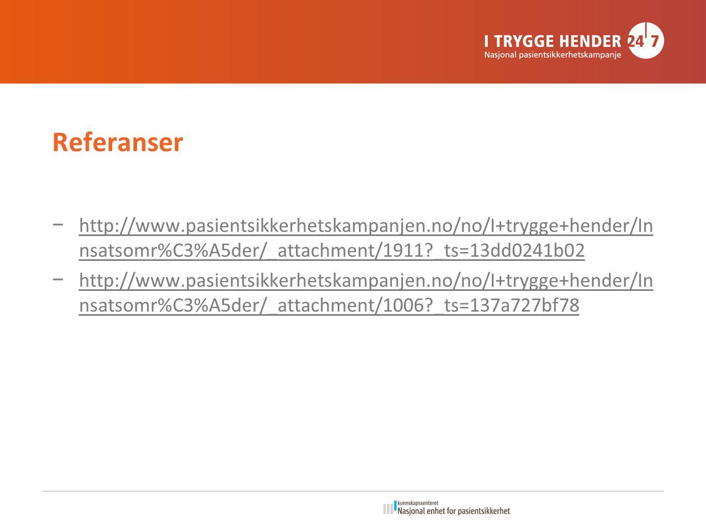 Referanser http://www.pasientsikkerhetskampanjen.no/no/I+trygge+hender/Innsatsomr%C3%A5der/_attachment/1911 _ts=13dd0241b02.