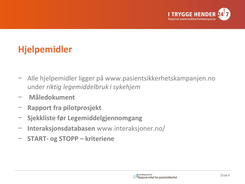 Hjelpemidler Alle hjelpemidler ligger på www.pasientsikkerhetskampanjen.no under riktig legemiddelbruk i sykehjem.