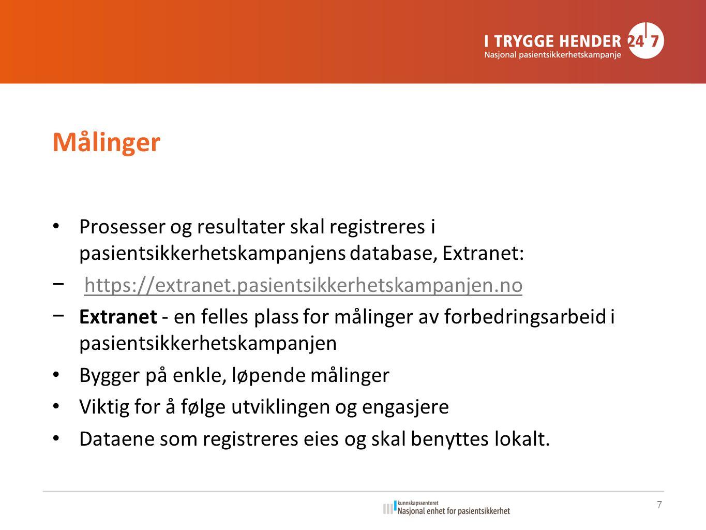 Målinger Prosesser og resultater skal registreres i pasientsikkerhetskampanjens database, Extranet: