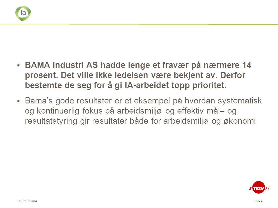 BAMA Industri AS hadde lenge et fravær på nærmere 14 prosent