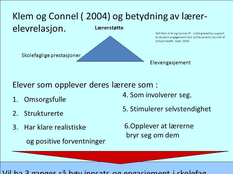 Klem og Connel ( 2004) og betydning av lærer-elevrelasjon.