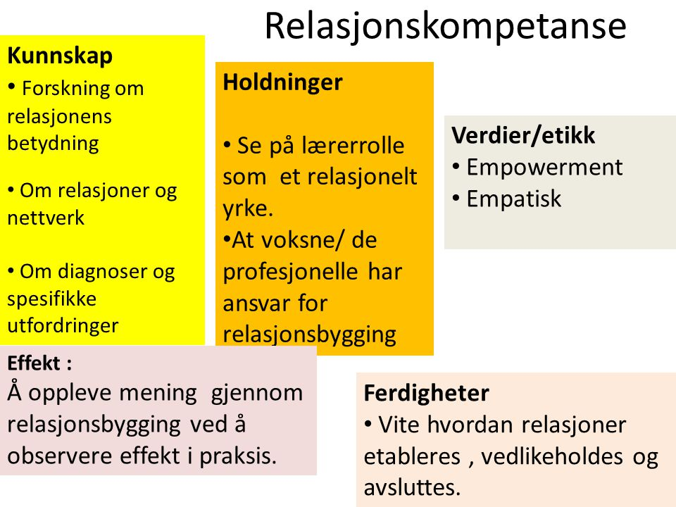Relasjonskompetanse Kunnskap Forskning om relasjonens betydning