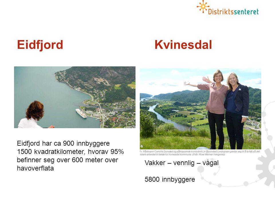 Eidfjord Kvinesdal Eidfjord har ca 900 innbyggere