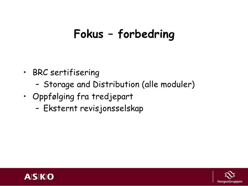 Fokus – forbedring BRC sertifisering