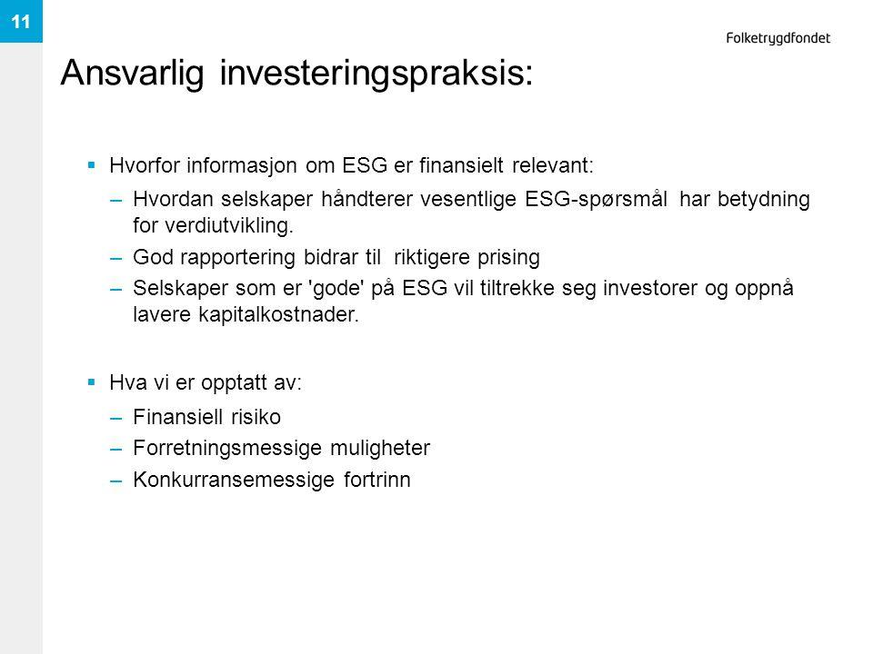 Ansvarlig investeringspraksis:
