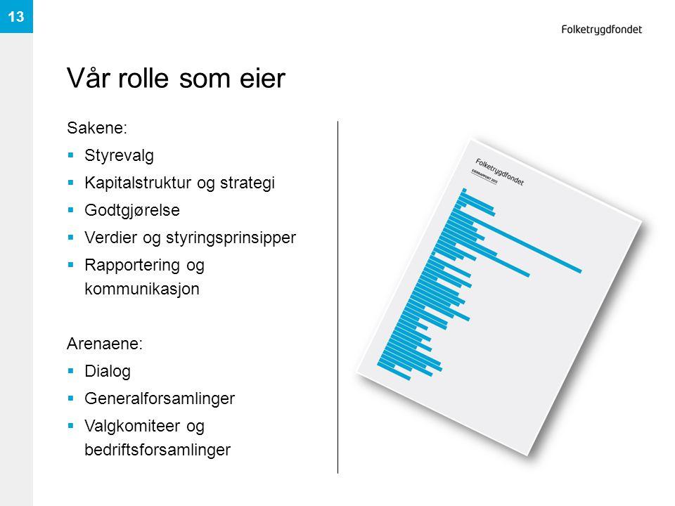 Vår rolle som eier Sakene: Styrevalg Kapitalstruktur og strategi