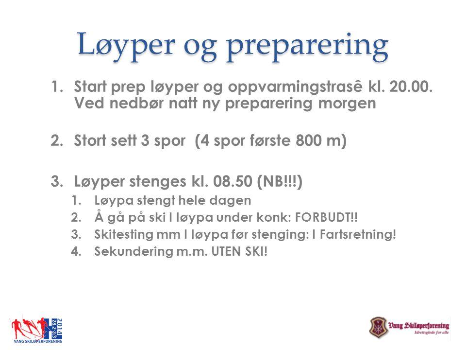 Løyper og preparering Start prep løyper og oppvarmingstrasê kl. 20.00. Ved nedbør natt ny preparering morgen.
