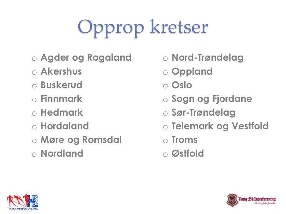 Opprop kretser Agder og Rogaland Akershus Buskerud Finnmark Hedmark