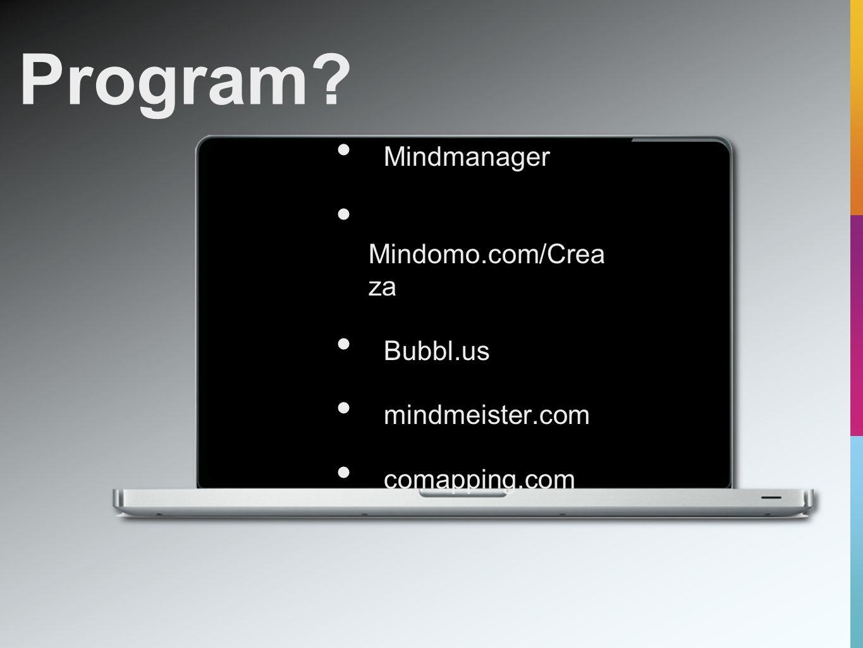 Program Mindmanager Mindomo.com/Crea za Bubbl.us mindmeister.com