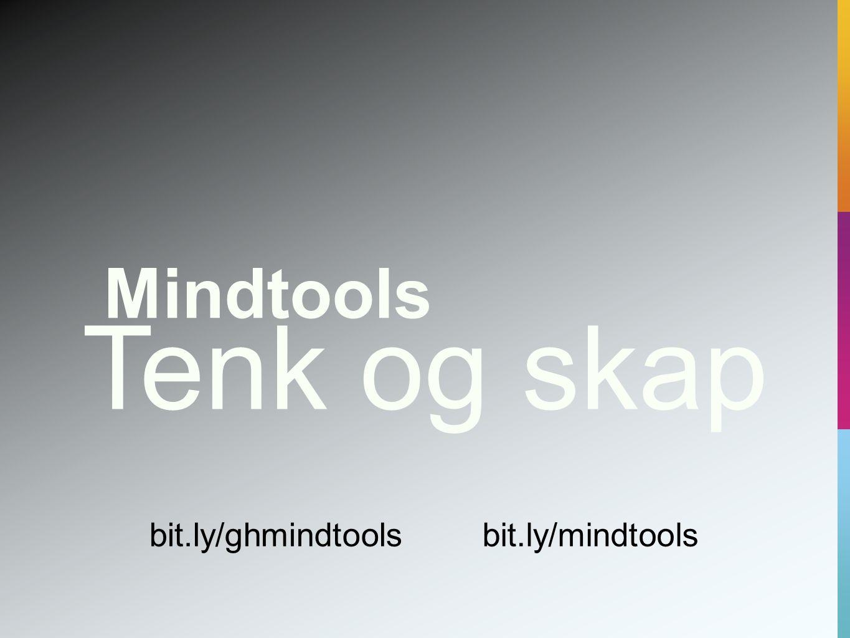 Tenk og skap Mindtools bit.ly/ghmindtools bit.ly/mindtools