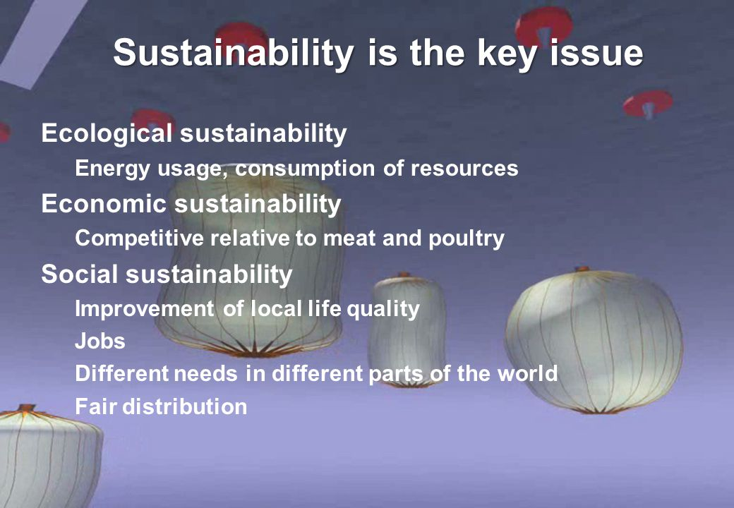 Sustainability is the key issue