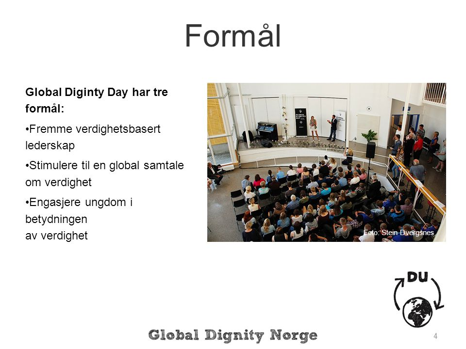 Formål Global Diginty Day har tre formål: