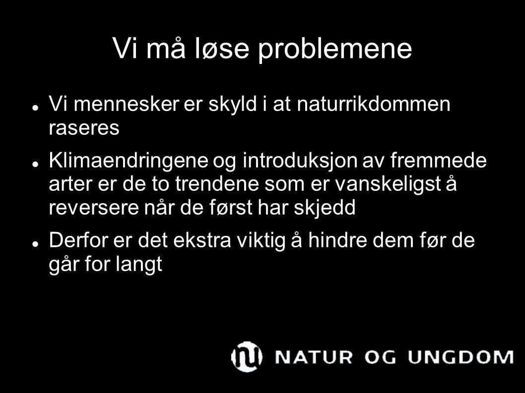 Vi må løse problemene Vi mennesker er skyld i at naturrikdommen raseres.