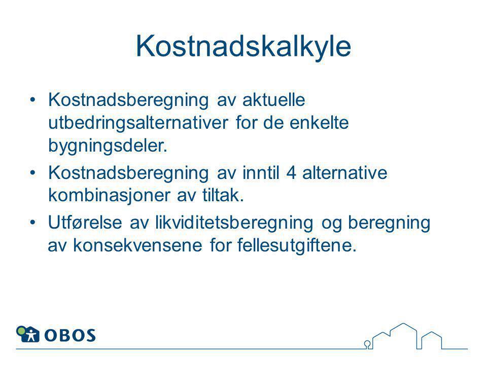 Kostnadskalkyle Kostnadsberegning av aktuelle utbedringsalternativer for de enkelte bygningsdeler.