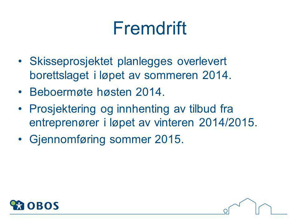 Fremdrift Skisseprosjektet planlegges overlevert borettslaget i løpet av sommeren 2014. Beboermøte høsten 2014.
