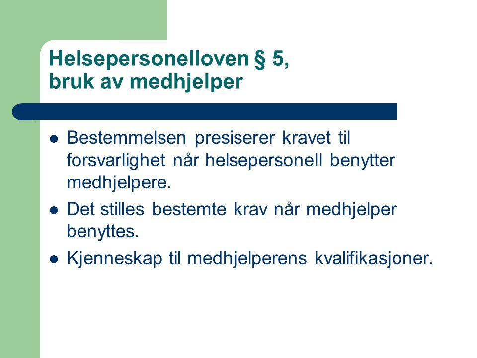 Helsepersonelloven § 5, bruk av medhjelper