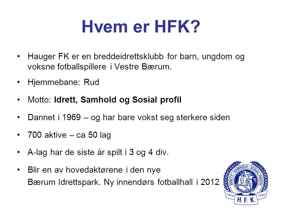 Hvem er HFK Hauger FK er en breddeidrettsklubb for barn, ungdom og voksne fotballspillere i Vestre Bærum.
