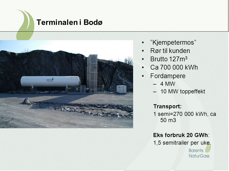 Terminalen i Bodø Kjempetermos Rør til kunden Brutto 127m3