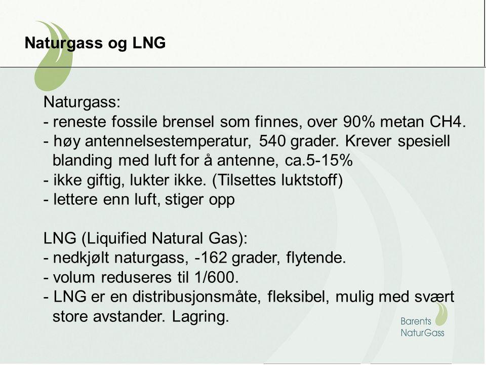 Naturgass og LNG Naturgass: - reneste fossile brensel som finnes, over 90% metan CH4. høy antennelsestemperatur, 540 grader. Krever spesiell.