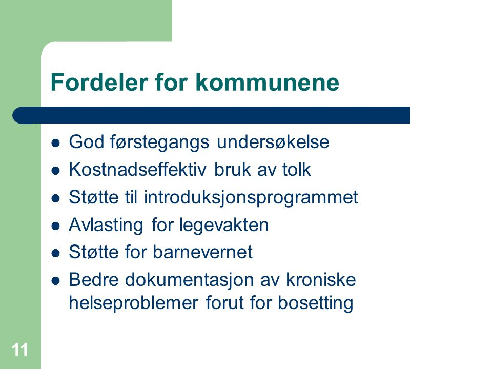 Fordeler for kommunene