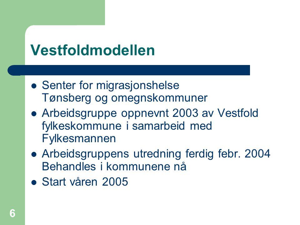 Vestfoldmodellen Senter for migrasjonshelse Tønsberg og omegnskommuner