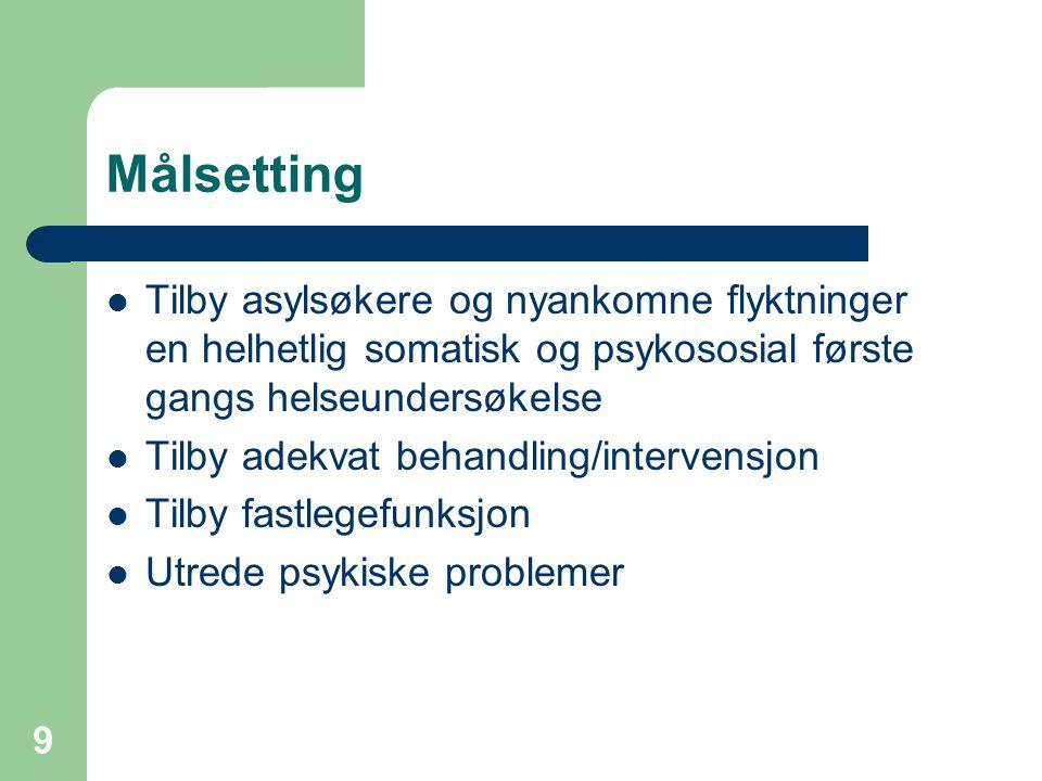 Målsetting Tilby asylsøkere og nyankomne flyktninger en helhetlig somatisk og psykososial første gangs helseundersøkelse.