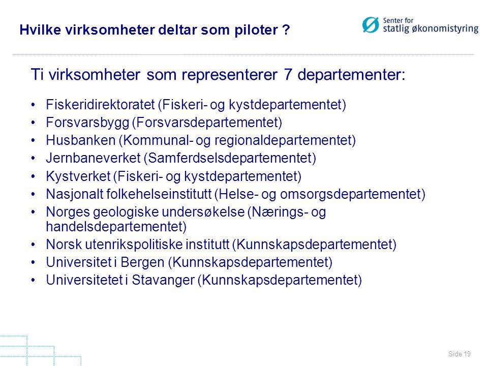 Hvilke virksomheter deltar som piloter