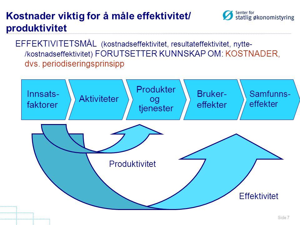 Kostnader viktig for å måle effektivitet/ produktivitet