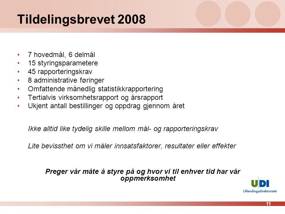 Tildelingsbrevet 2008 7 hovedmål, 6 delmål 15 styringsparametere