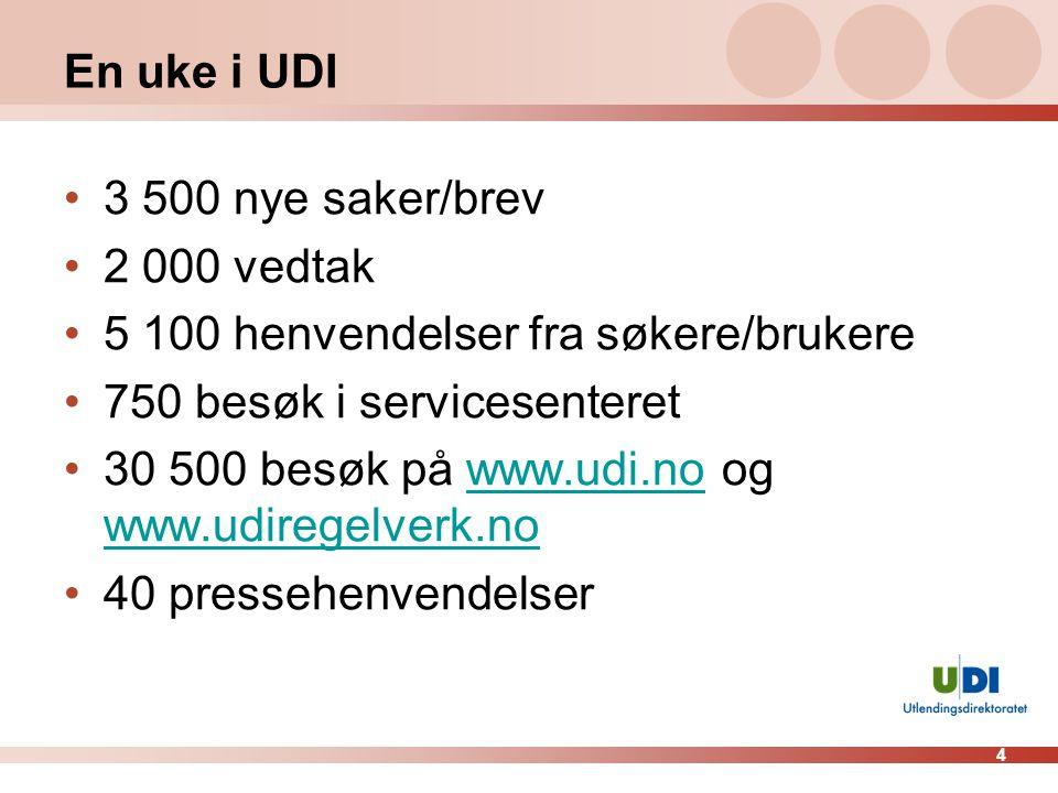 En uke i UDI 3 500 nye saker/brev. 2 000 vedtak. 5 100 henvendelser fra søkere/brukere. 750 besøk i servicesenteret.