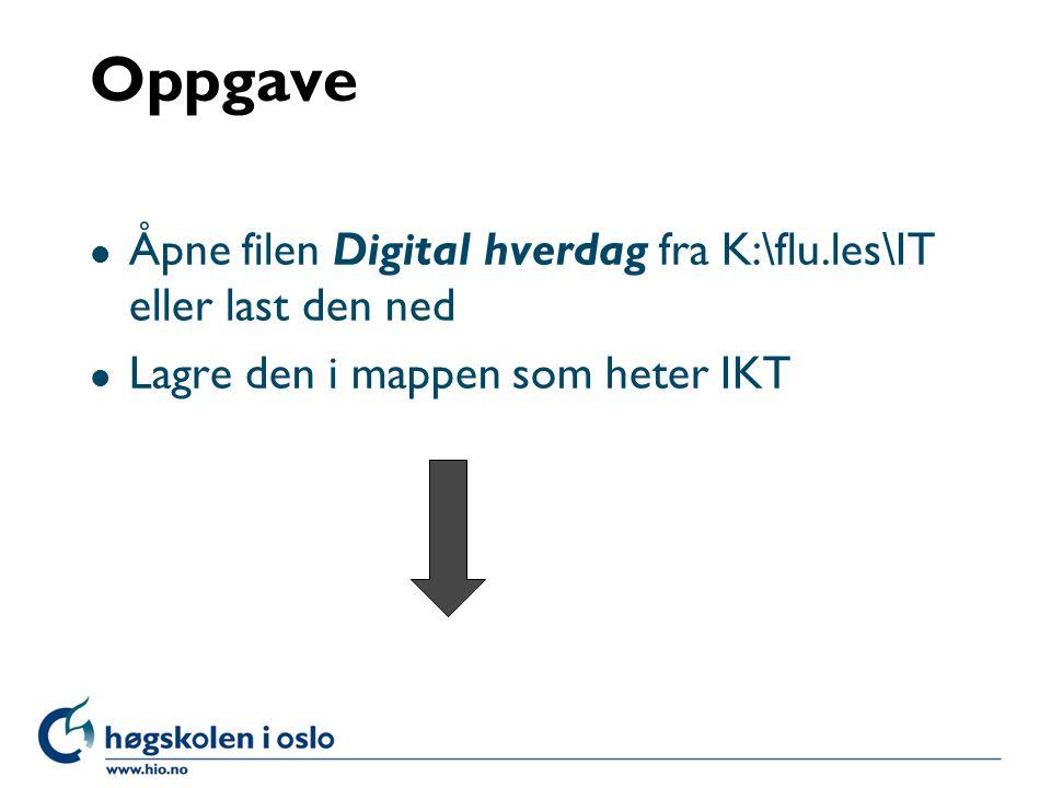 Oppgave Åpne filen Digital hverdag fra K:\flu.les\IT eller last den ned.