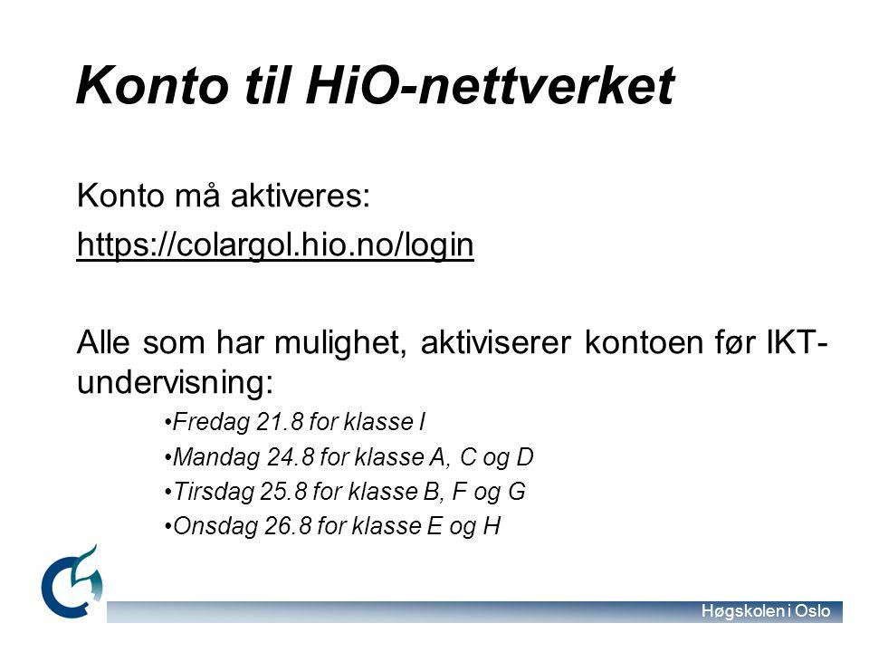 Konto til HiO-nettverket