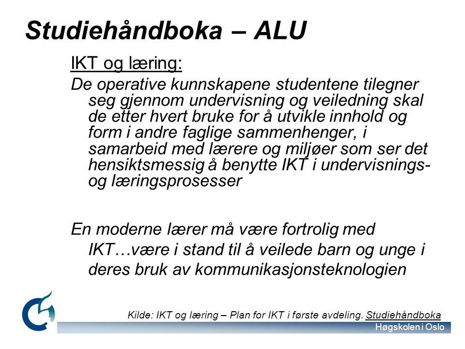Studiehåndboka – ALU IKT og læring: