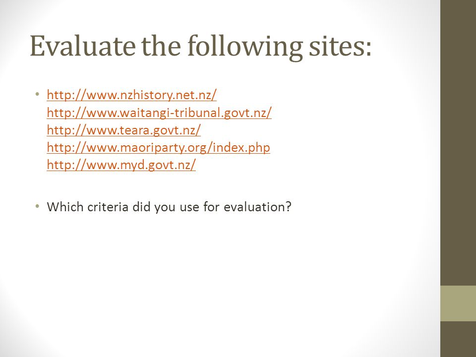 Evaluate the following sites: