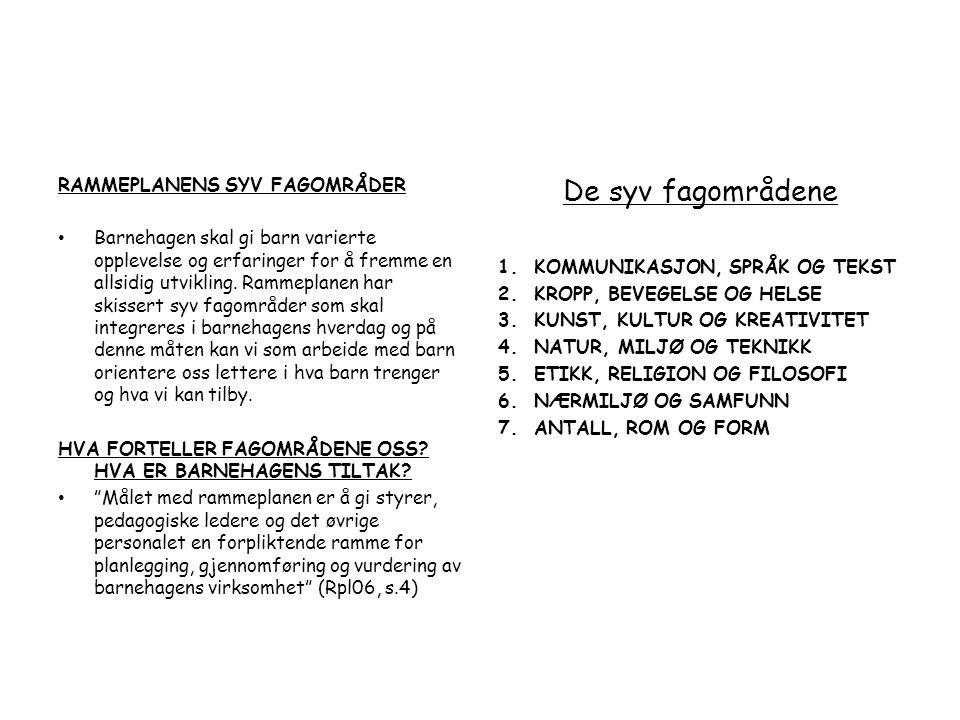 De syv fagområdene RAMMEPLANENS SYV FAGOMRÅDER