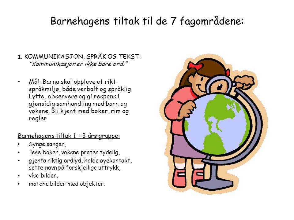 Barnehagens tiltak til de 7 fagområdene: