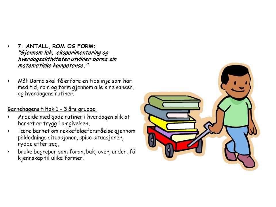 7. ANTALL, ROM OG FORM: Gjennom lek, eksperimentering og hverdagsaktiviteter utvikler barna sin matematiske kompetanse.