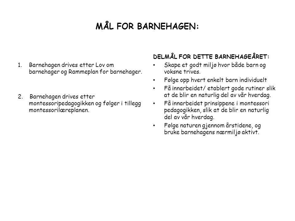 MÅL FOR BARNEHAGEN: Barnehagen drives etter Lov om barnehager og Rammeplan for barnehager.