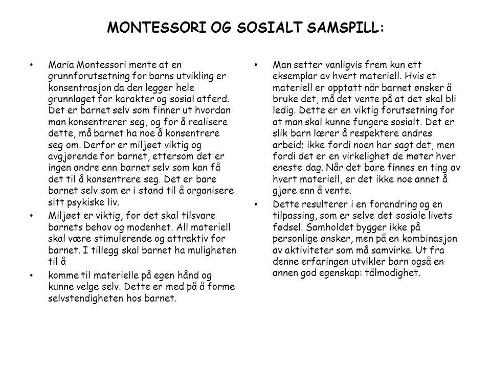 MONTESSORI OG SOSIALT SAMSPILL: