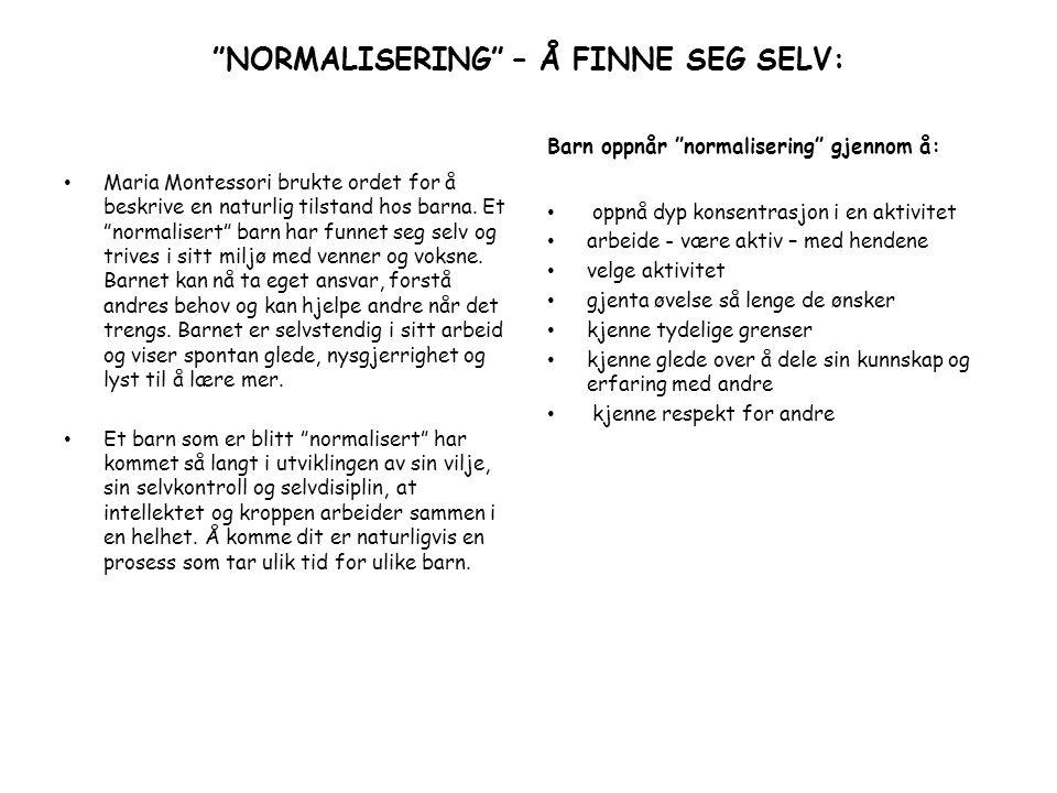 NORMALISERING – Å FINNE SEG SELV: