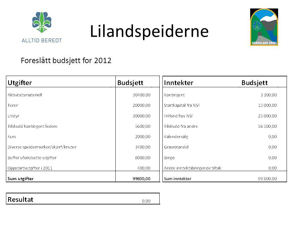 Lilandspeiderne Foreslått budsjett for 2012