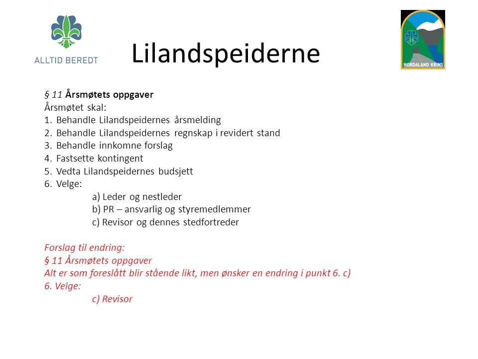 Lilandspeiderne § 11 Årsmøtets oppgaver Årsmøtet skal: