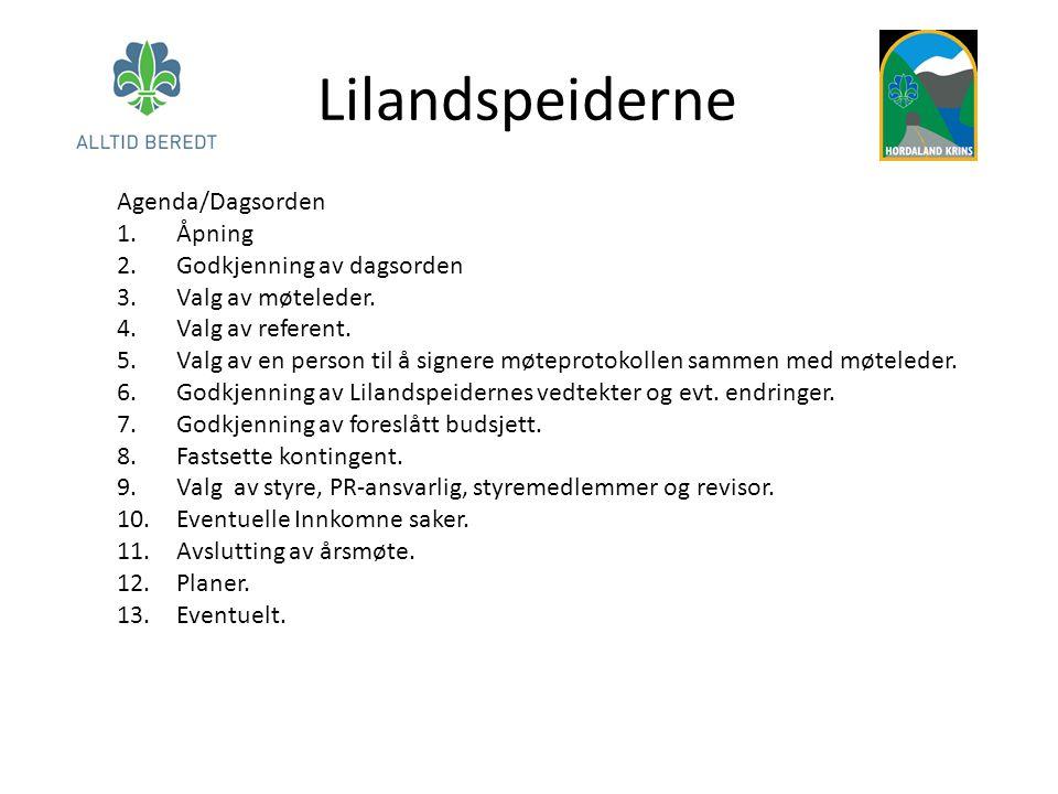 Lilandspeiderne Agenda/Dagsorden Åpning Godkjenning av dagsorden